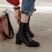 All US Size 34-52 Women's Chunky Block Heels Back Zipper Square Toes Ankle Boots