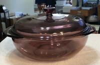 Vintage Pyrex Cranberry Round Casserole Bowl #024 2 QT. 2L w/ Pyrex Lid 624C