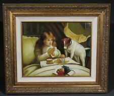 Naive Oil Painting on Canvas,Girl & Jack Russell, after Charles Burton Barber