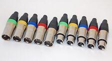 10 Stück 5x male 5x female XLR Stecker STAC  Farbringe für Mikro- und DMX Kabel
