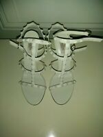 Valentino Garavani Rockstud 105mm Caged Strapy Sandals Ivory White Sz 9.5
