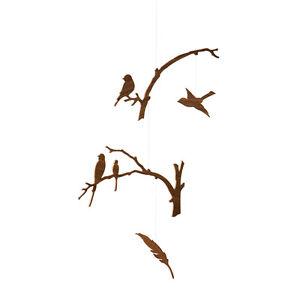 Ige Birds of a Feather Walnut Wood Modern Hanging Baby Mobile Nursery Decor USA
