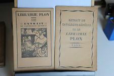 1929/1930 - LIBRAIRE PLON - EXTRAIT DU CATALOGUE GENERAL