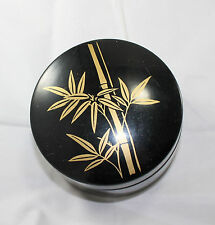 Vintage Original Japan Coaster Set in Box Case Black & Gold  Bamboo Floral 7Pc