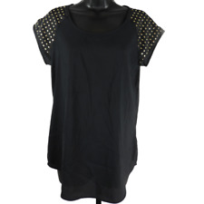 EXPRESS Black & Gold Studded Short Sleeve Top Women's Size Small