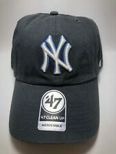 Charcoal Gray New York Yankee White Logo Blue Outline 47 Brand Cap Free Shipping