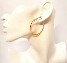 Twist Large Hoop Huggie Charm Dangle Earring 18K Yellow Gold Filled Gift Jewelry
