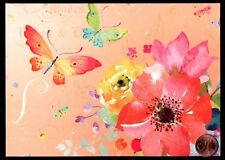 PAPYRUS Butterflies Watercolor Designed Flowers -  LARGE Blank Note Card - NEW