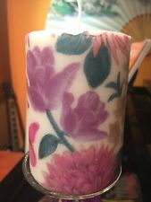 AUTUMN FLOWERS (purple Butterflies)HAND DECORATED  PILLAR CANDLE -/+50hrs