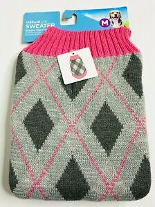 New Vibrant Life Pink Argyle Dog Pullover Sweater Medium Knit Pet Apparel SP1006