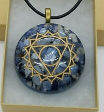 Blue Lace Agate, Kyanite, & Sodalite Throat Chakra Orgone Energy Necklace