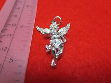 14 KT WHITE GOLD PLATED ALMOST 1 1/2 INCH LARGE ANGEL CHARM PENDANT