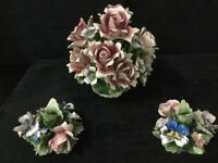 3 piece collection of Capodimonte porcelain flower sculptures, made in Italy