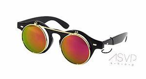 Steampunk Goggles Glasses Round Sunglasses Emo Retro Vintage Flip Up Cyber A1