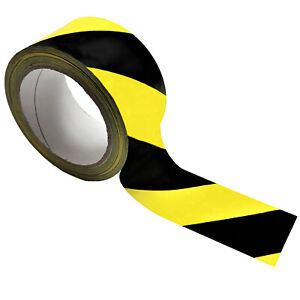 Hazard Warning Tape Roll 50x33m YELLOW/BLACK Self Adhesive Social Distancing PVC