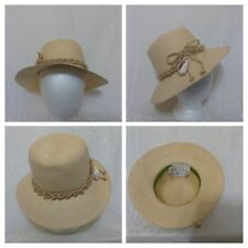 Vintage Frank Olive Straw Woman's Hat Special Occasion Rope & Conch Shell