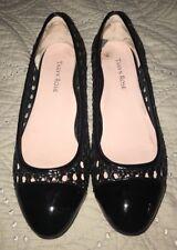 Taryn Rose Black Patent Leather woven Cap Toe low block heels shoes 8 M EUC