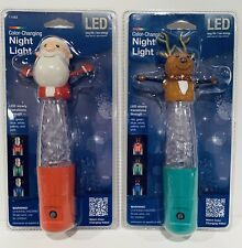 2 Color-Changing Led Night Lights w/ Sensor Santa And Reindeer Jasco Holiday