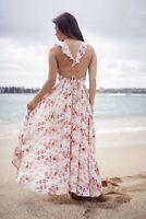 JAASE Australian brand beach summer dress 14 12 10 pink floral maxi floaty boho