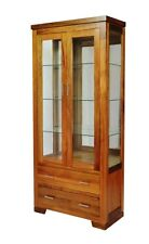 NEW HARBOUR SOLID BLACKWOOD DISPLAY CABINET WITH SIDE GLASS FRAME