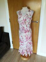 Ladies DEBENHAMS Dress Size 12 Pink Ivory Smart Party Wedding Races