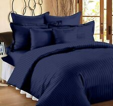 Navy Blue Solid Egyptian Cotton King Size Bed Sheets With 2 Pillow Covers