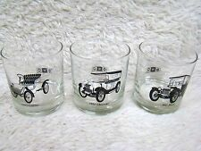 "Lot of 3 Antique Cars 3.5"" Bar Glasses, Cadillac, Chevy, Buick by Delco, Home"