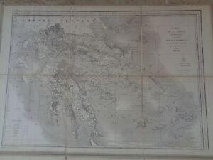 RARE Carte de la Grèce gravée par Erhard publiée dépôt de la guerre 1852 GREECE