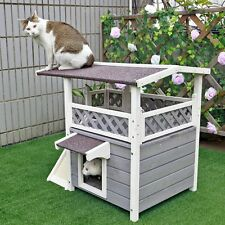 Cat Houses For Outdoor Cats Pet Deck Ramp Condo Solid Wood Shelter Weatherproof