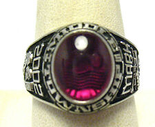 """SILVER TOWNSHIP MIDDLE SCHOOL RING 2002 RASPBERRY STONE SIZE 10.75 """"MARK"""" SYBOLL"""