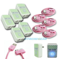 5X 4 USB PORT WALL ADAPTER+3FT CABLE POWER CHARGER PINK FOR IPHONE 4S IPOD IPAD