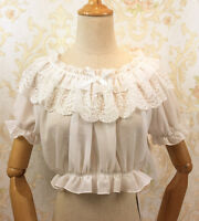 Sweet Lolita Fashion Lace Gothic Short Sleeve Chiffon Blouse Short Tops#NKK-6