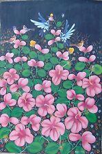 HAITI FOLK ART NAIF PAINTING BY ALAND ESTIME HAITIAN FLOWERS AND BIRDS