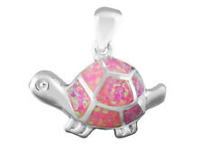 925 Sterling Silver Pink Inlay Fire Opal Lovely Good Luck Turtle Charm Pendant