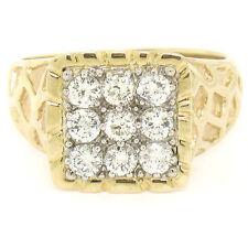 Hombre 14k Dos Tonos Oro NUGGET diseño .90ctw Diamante Brillante Redondo Anillo