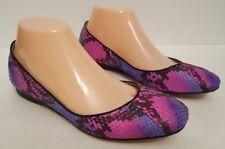 Jean Michel Cazabat Robin Leather Snake Skin Ballet Flats Sz 38 US 8 Purple Blue
