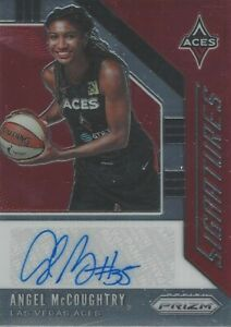 2020 WNBA PANINI PRIZM ANGEL McCOUGHTRY SIGNATURES AUTOGRAPHED CARD LV ACES