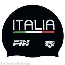 Cuffia ARENA ITALIA TEAM FIN in SILICONE Colore NERO Nuoto Piscina Swim cap