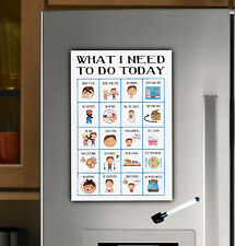 Boys Magnet Routine Chart, toddler responsibilty checklist, daily visual aid