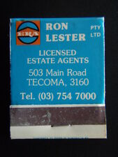 ERA RON LESTER LICENSED ESTATE AGENTS 503 MAIN RD TECOMA 7547000 MATCHBOOK