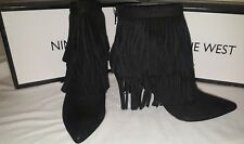 New  Nine West black leather fringe stiletto  boots ankle booties shoes 7 1/2