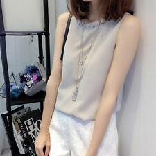 2018 Summer Korean Womens Chiffon Sleeveless Shirt Casual Loose Blouse Vest Top