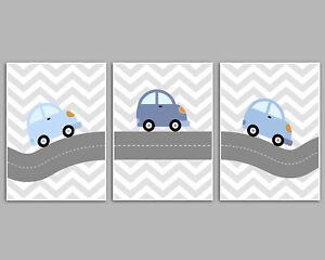 Car Nursery Art Prints / Coordinating Blue Cars / Grey Chevron / Baby Boy