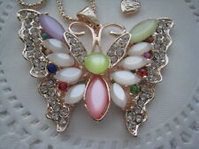 """BETSEY JOHNSON OPAL, RHINESTONE AND & PEARL BUTTERFLY NECKLACE  26""""  # 241"""