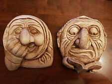 2 Gothic Gargoyle Greenman Green man Lady face plaster wall decoration plaques