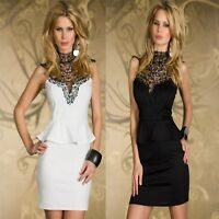 Sexy w Lace Sleeveless Peplum Party Dance Cocktail Chic Formal Dress Ladies New