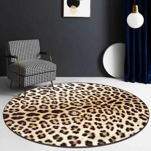 Round Leopard Print Floor Mat Pads Living room Non-Slip Carpet Outdoor Rug Stock