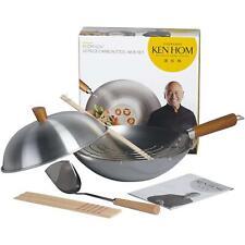 Ken Hom Classic Carbon Steel Wok Set, Authentic Asian Cooking, 10 Pieces -  31cm