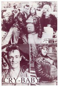 "1990 ""Cry-Baby"" German Ad Brochure w/ 11 Photos: John Waters, Johnny Depp +"