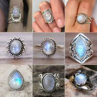 Antique Silver Ring Woman Fire Opal Moon Stone Wedding Engagement Size 5~11